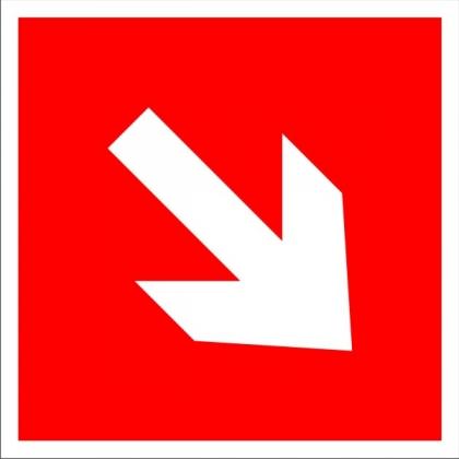 Знак пожарной безопасности F01-03 Направляющая стрелка под углом 45 градусов