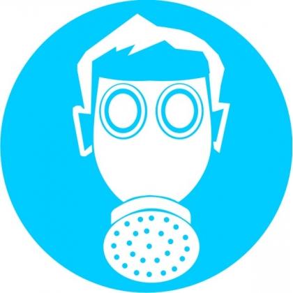 Знак предписывающий М04 Работать в средствах индивидуальной защиты органов дыхания