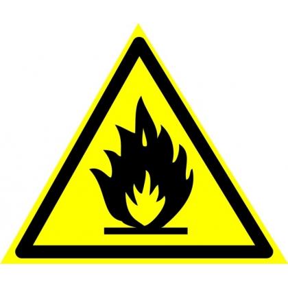 Знак предупреждающий W01Пожароопасно. Легковоспламеняющиеся вещества.