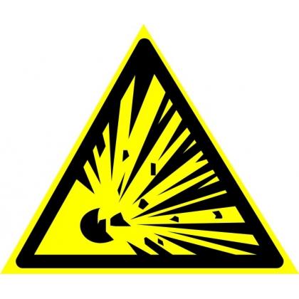 """Знак предупреждающий W02 """"Взрывоопасно""""."""