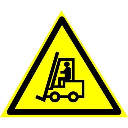 """Знак предупреждающий W07 """"Внимание! Автопогрузчик""""."""