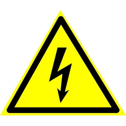 Знак предупреждающий W08 Опасность поражения электрическим током
