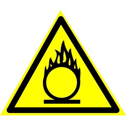 Знак предупреждающий W11 Пожароопасно. Окислитель.