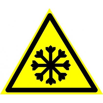 """Знак предупреждающий W17 Знак безопасности """"Осторожно! Холод""""."""