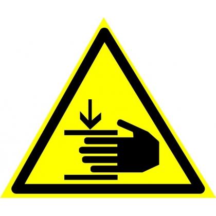 Знак предупреждающий W27 Осторожно, возможно травмирование рук.